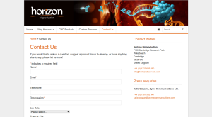 Horizon Bioproduction contact page
