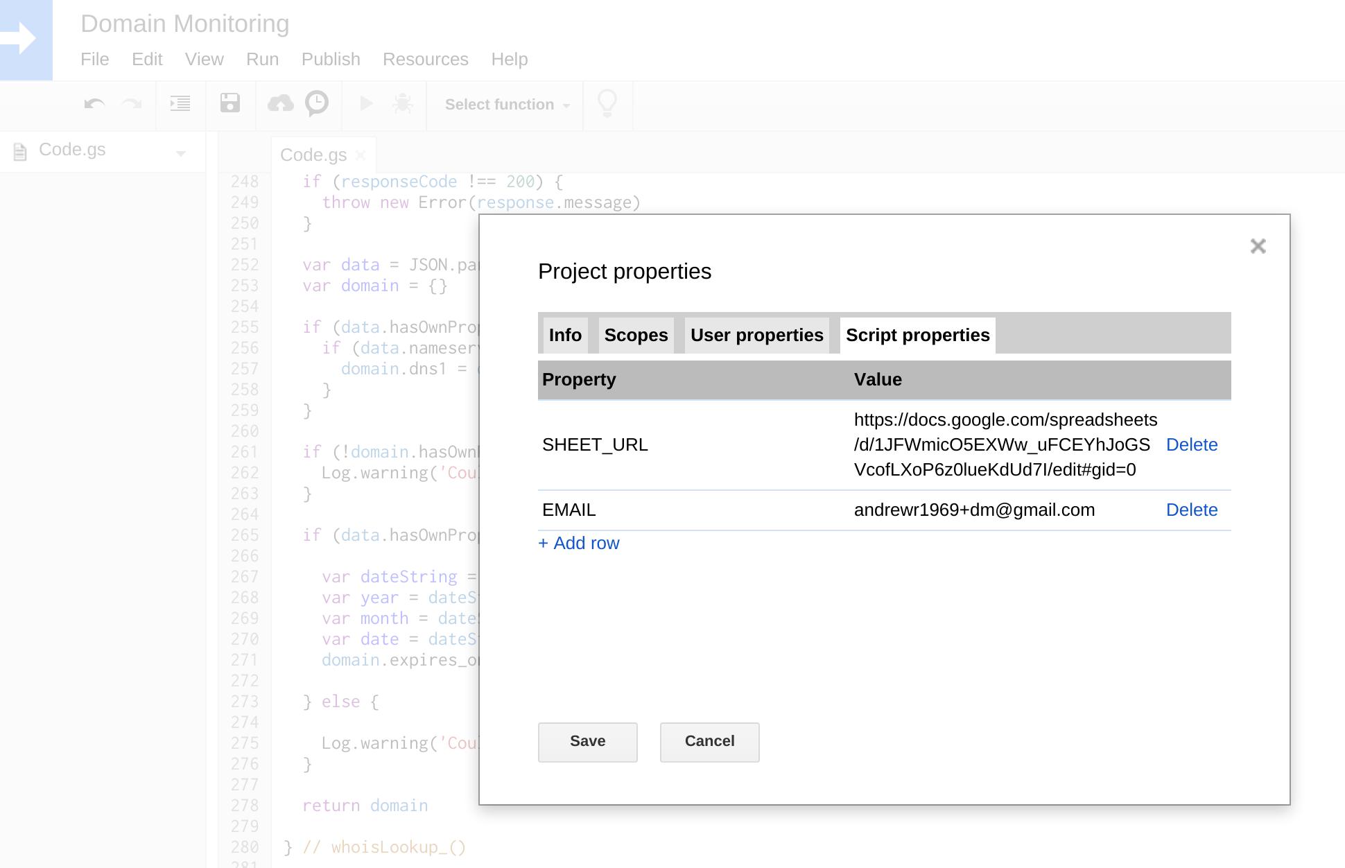 Set script properties